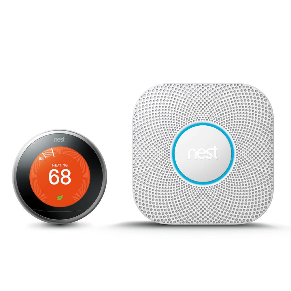 Nest Learning Thermostat 3rd Gen in Stainless Steel and Google Nest Protect Battery Smoke and Carbon Monoxide Detector